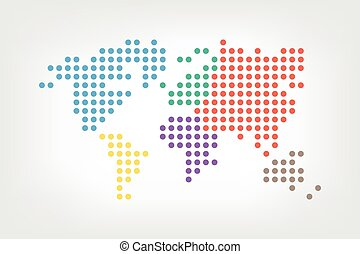 World map ( dotted style ) ( flat color design )