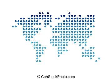 World map ( dotted style ) ( blue gradient color )