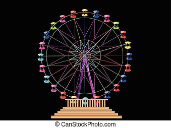 ferris wheel isolated on a black background