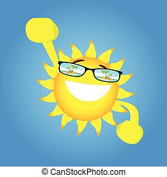 Happy Sun Cartoon Character Hands Up Wear Glasses With Tropical Island View