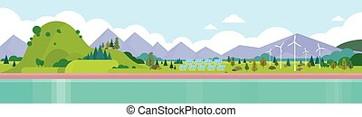 Mountain Range Summer Landscape Horizontal Banner Vector...
