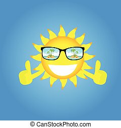 Sun Cartoon Character Wear Glasses With Tropical Island View Thumb Up Gesture