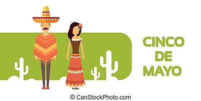 Mexican Couple Man Woman Wear Traditional Clothes Cactus...