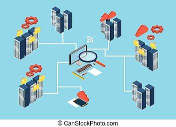Database Server Search Data 3d Isometric Design Vector...