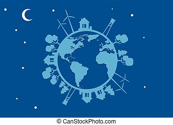 Night Earth Globe Silhouette Wind Turbine Flat Vector...