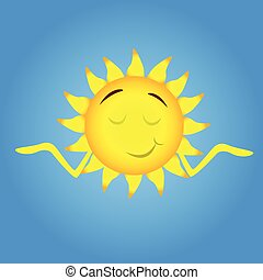 Sun Cartoon Character Smile, Closed Eyes, Shrug Shoulders -...
