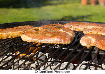 Grillen - barbecue - Grillen im Somme, Grillfet im Garten