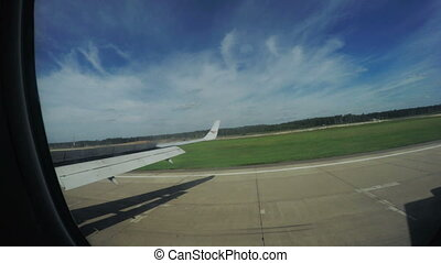 Landing of aircraft - View from airplane on landing aircraft...