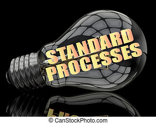 Standard Processes - lightbulb on black background with text...