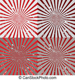 Set of red and grey sunbursts