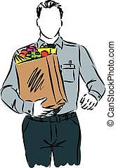 businessman with grocery bag illustration