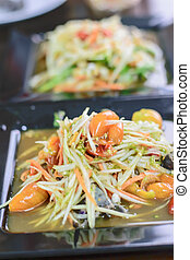 Som Tum Thai papaya salad. Traditional Thai food