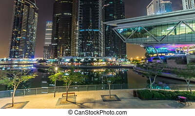 Residential buildings in Jumeirah Lake Towers timelapse hyperlapse in Dubai, UAE.