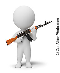 3d small people - soldier with ak74 - 3d small people -...
