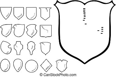 Set of Heraldic Shield Shapes Black and white vector...