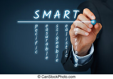 SMART criteria concept - managerial method. Businessman...