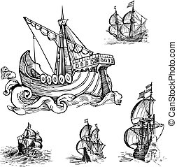 Set of Old Sailing Ships Black and white vector...