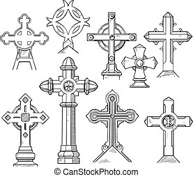 Set of Christian Cross Shapes Black and white vector...