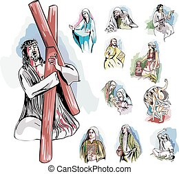 Set of Bible Illustrations - Set of Bible Story...