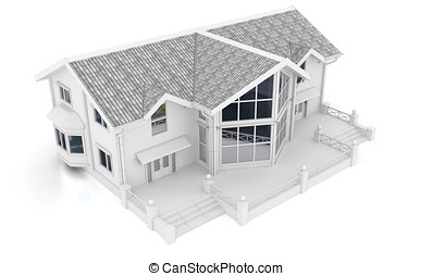 3d contemporary apartment block on a white background 3D...