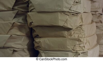 Big stack of packages Thick paper packages Huge order at...