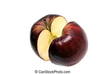 split red apple on white - a small red Jonathan apple split...