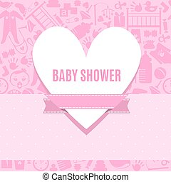 Baby shower card in pink color