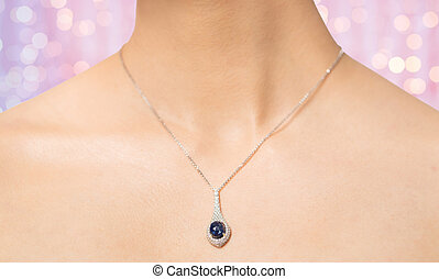 close up of beautiful woman neck with pendant - glamour,...