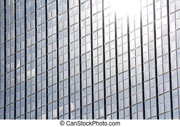 sun reflection in office building facade - sun light...