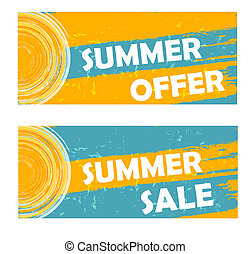 summer offer and sale with sun sign, drawn banners - summer...