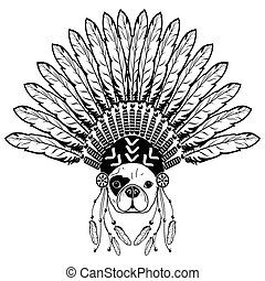 Warrior style French bulldog with tribal Headdress with...