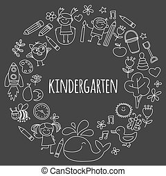 Vector set of kindergarten images Hand drawn pictures