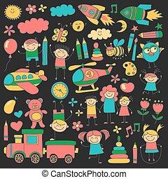 Vector set of kindergarten images Hand drawn pictures