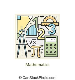 Modern color thin line concept of mathematics for school,...