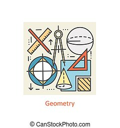 Modern color thin line concept of geometry for school, university and training.