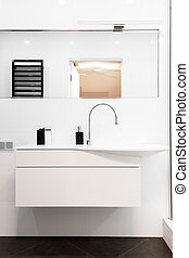 Modern design solution bathroom in black and white Luxurious...