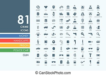 Set of crime icons - crime vector set of modern simple icons