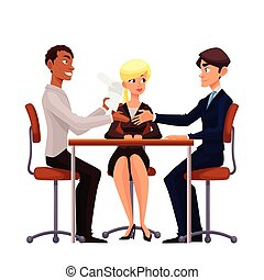 Business discussion at the table of employees - Talks at...