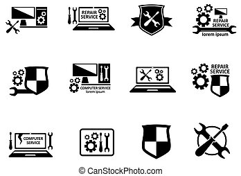 computer service and repair symbols set on white background