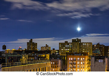 New York City Rooftop Skyline at Night - New York City...