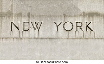 New York City Letters Carved in Stone - New York City...