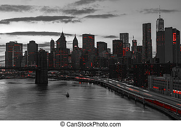 New York City Red Lights in Black and White - New York City...