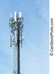Antenna repeater - White color antenna repeater tower on...