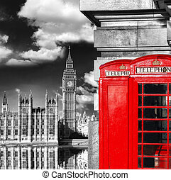 London symbols with BIG BEN and red PHONE BOOTHS in England,...
