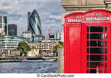 London symbols with red PHONE BOOTHS against modern...