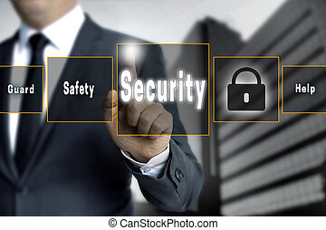 Security touchscreen is operated by businessman