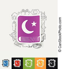 koran paper sticker with hand drawn elements - hand drawn...
