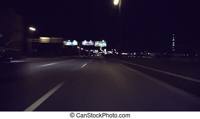 Fast City Drive At Night In Saint-Petersburg