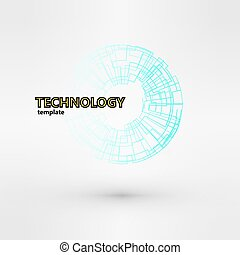 Wireframe mesh polygonal logo element Torus with connected...