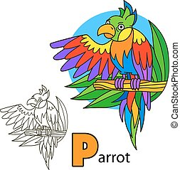 Parrot. Coloring book page
